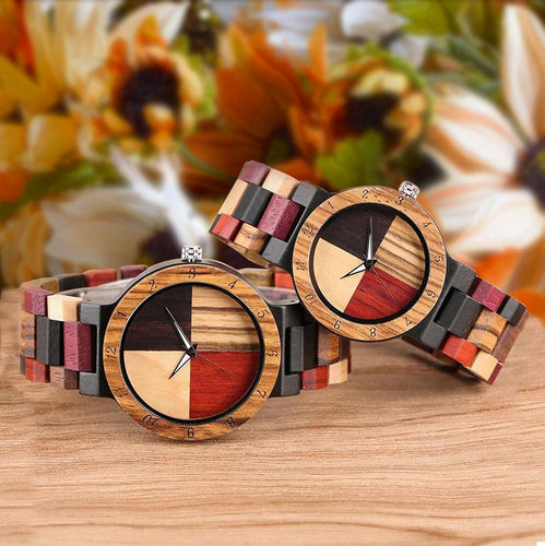 Urban Designer Colorful Angel Matching His And Hers Wood Watches For Couples