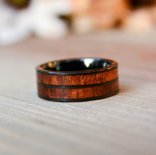 Hawaiian Wood Inlay Tungsten Wedding Bands For Men