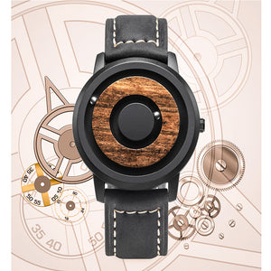 Cosmos Minimalist Dark Wood Dial Scaleless Magnetic Wooden Watch
