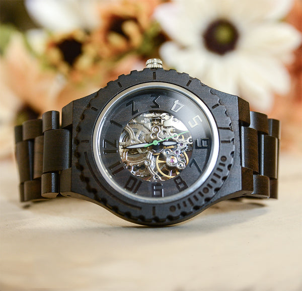 UD Premium Eco-Friendly Automatic Mechanical Dark Round Wooden Watch For Men
