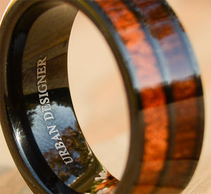 8mm Double Koa Wood Inlay Tungsten Wedding Bands For Men