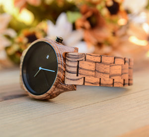 Personalized Engraved Zebra Round Wooden Watch With Date Display
