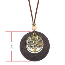 Handmade Wooden Necklace Long Leather Pendant