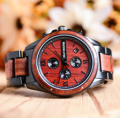 Volcano Chronograph Wood Watch For Men Red Wood Band with Dark Metal Combined