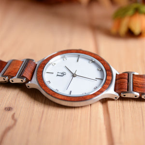 Tulip Wooden Watch For Women With Wood & Stainless Steel Combined Watch Band