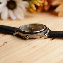 Minimalist stainless steel in silver dark wooden watch with black Leather band