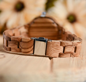 UD Minimalist Round Wooden Watch For Women With Pink Face and Wood Band