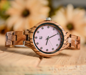 UD Classic Womens Zebra Round Wooden Watch With Pink Face and Wood Band