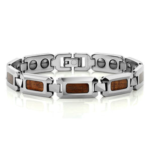 Men's Wood Inlay Polished Tungsten Carbide Link Bracelet Magnetic Silver Tone Wristband