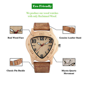 Triangle Shape Handmade Natural Wooden Watch For Women With Genuine Leather Band