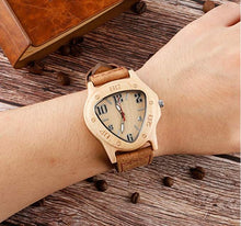 Triangle Shape Handmade Natural Wooden Watch  With Genuine Leather Band