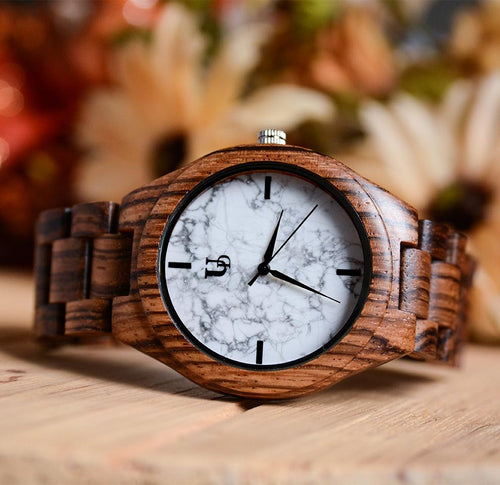 The gorgeous white marble wood watch is Urban Designer's version of a classic yet slim watch.