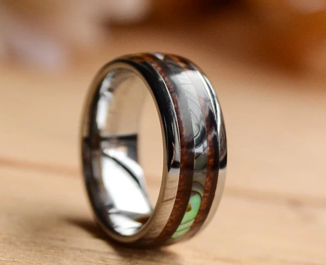 8mm Abalone Shell and Wood Inlay Black Tungsten Wood Ring