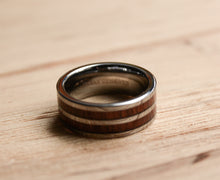 Koa wood mens ring with metal inlay from Urban Designer.