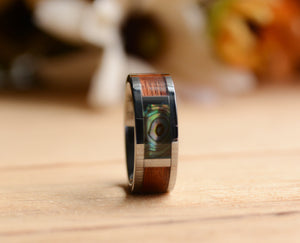 Unique mens wedding band with wood inlay and abalone shell from Urban Designer.