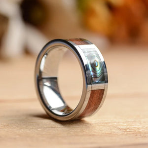 Abalone shell and koa wood mens ring from Urban Designer.