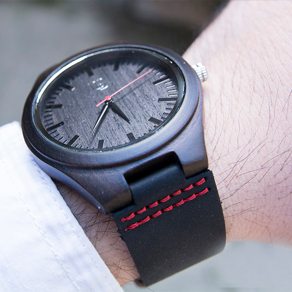 Cool ebony wood watch with dark leather band from Urban Designer.