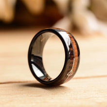 8mm Black Tungsten Ring w/Cool Koa Wood Inlay and Sleek Silver Feathered Arrow