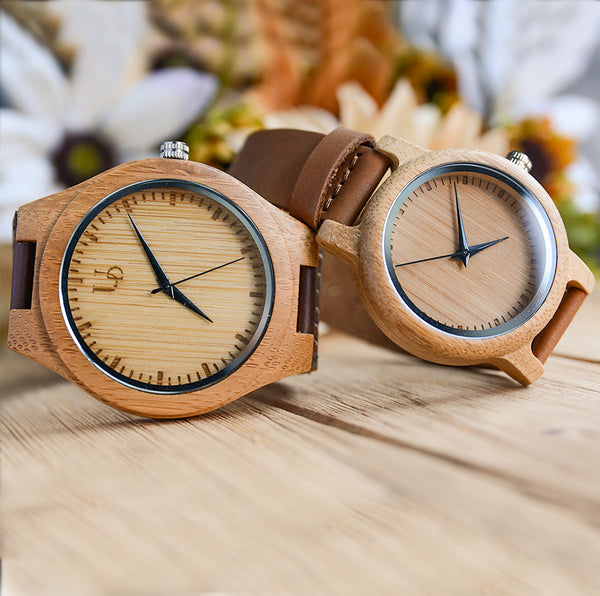 Minimalist Couple Wood Watches with Premium Leather Straps