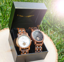 His and Hers Minimalist Wood Watches - Couples Wood Watch Set