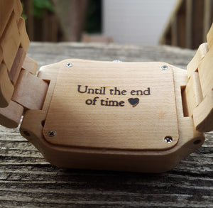Engraved Natural Wooden Watches With Date Display