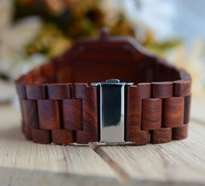 UD Handmade Mens Red Sandal Wooden Watch Square Wood Face