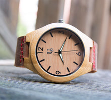 Handsome light wood watch with genuine leather band from Urban Designer.