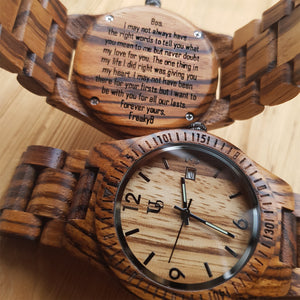 UD Unisex Zebra Thin Round Wooden Watch with Date Display