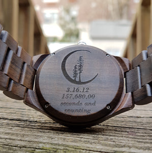 UD Personalized/Engraved His and Her Round Wooden Watches