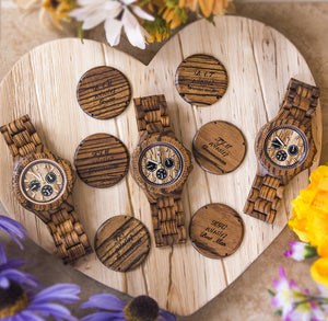 Engraved Multi Function Chronograph Zebra Round Wooden Watch For Groomsmen