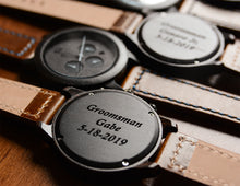 Personalized wooden watch with leather band from Urban Designer.