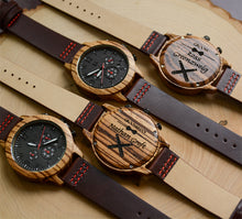 UD Personalized Men's Chronograph Zebra Wooden Watch With Premium Leather Band