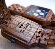 UD Personalized Chronograph Zebra Multi-Function Square Wood Watch for Men