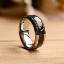 6mm Tungsten Wood Band with Purple heart Inlay