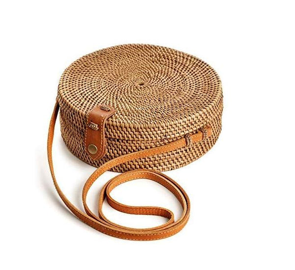 Handmade Round Rattan Bag For Women by Urban Designer