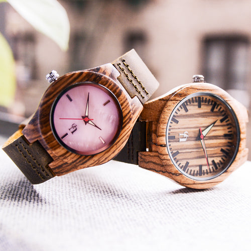 Match His and Hers Zebra Wooden Watches with Premium Leather Strap, Couple Wooden Watches