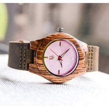 UD Ladies Personalized/Engraved Exotic Zebra Wood Face Watch with Premium Leather Strap