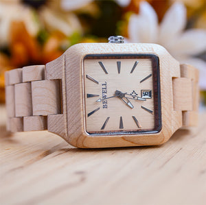 natural wood face watch for men