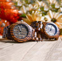 Personalized/Engraved His and Her Round Zebra Wooden Watches With Date Display