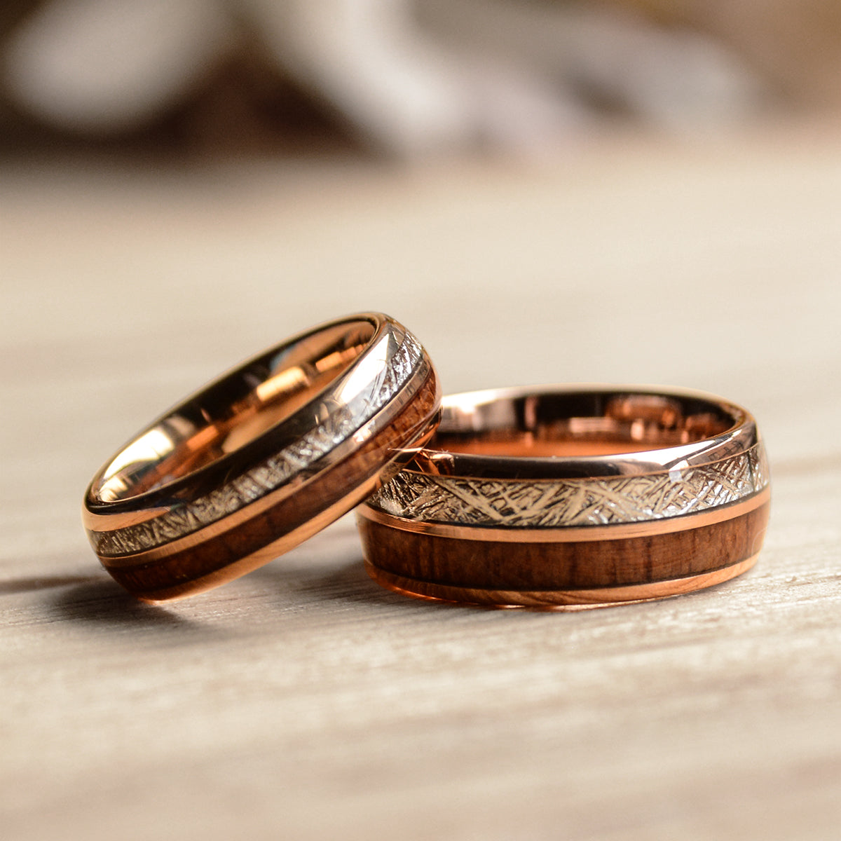 Match His And Hers Rose Gold Tungsten Rings With Meteorite And Wood In