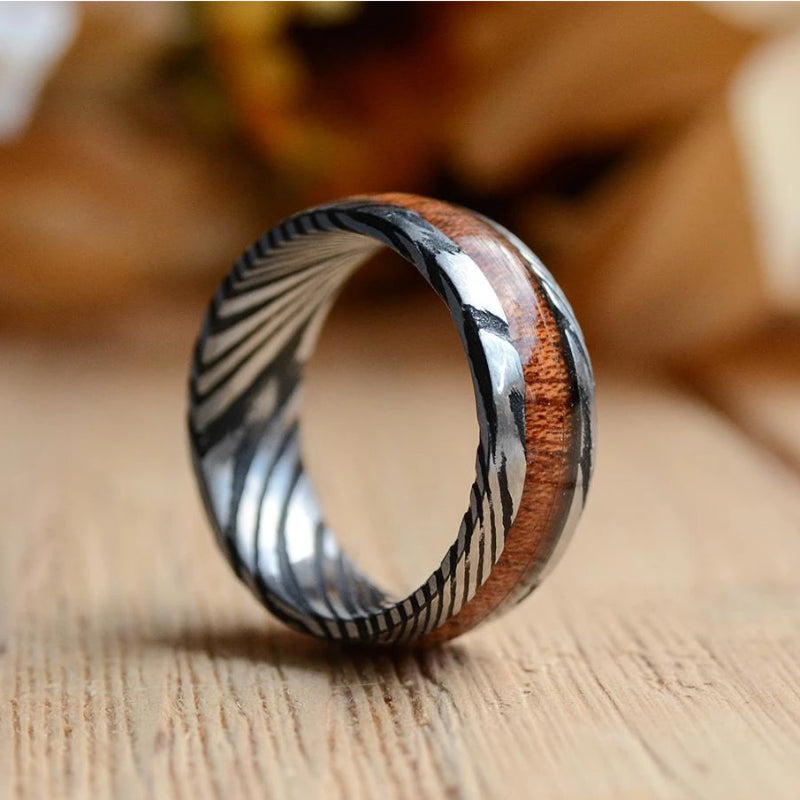 Red Black Iron Wood Mens Wedding Rings White Tungsten Wood Ring Lined With Desert Iron Wood 8mm 6mm Ring Anniversary Ring Wooden Mens Rings