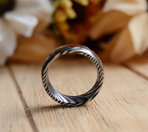 8mm Mens Wedding Band with Koa Wood Inlay and Damascus Steel Pattern Ring