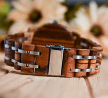 Minimalist Round Zebra Wooden Watch Luxury Wood & Stainless Steel Combined Watch Band