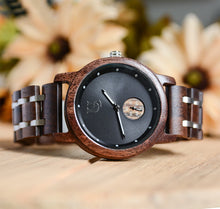 Minimalist Watch For Men Wood Watch Luxury Wood & Stainless Steel Combined Watch Band