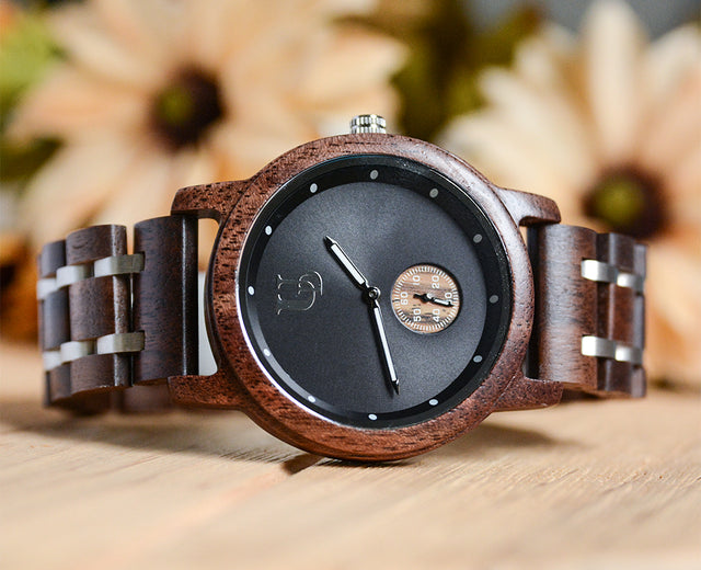 Minimalist Round Walnut Wooden For Men  Watch Luxury Wood & Stainless Steel Combined Watch Band