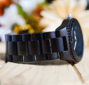 UD Personalized/Engraved Exotic Dark Round Wood Grain Watch