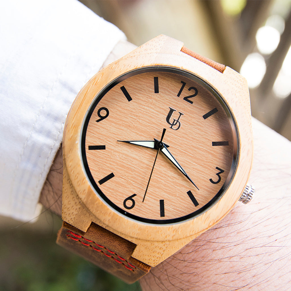 Bamboo wood watch with leather band from Urban Designer.