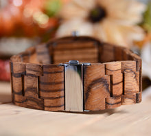 UD Engraved Dual Panel Square Zebra Wood Watch For Men
