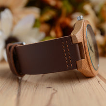 UD Personalized/Engraved Minimalist Bamboo Wood Face Watch with Premium Leather Strap