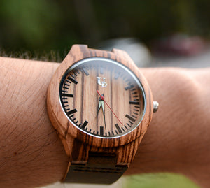 Groomsmen Watches - Engraved Wood Watches For Groomsmen With Premium Leather Band